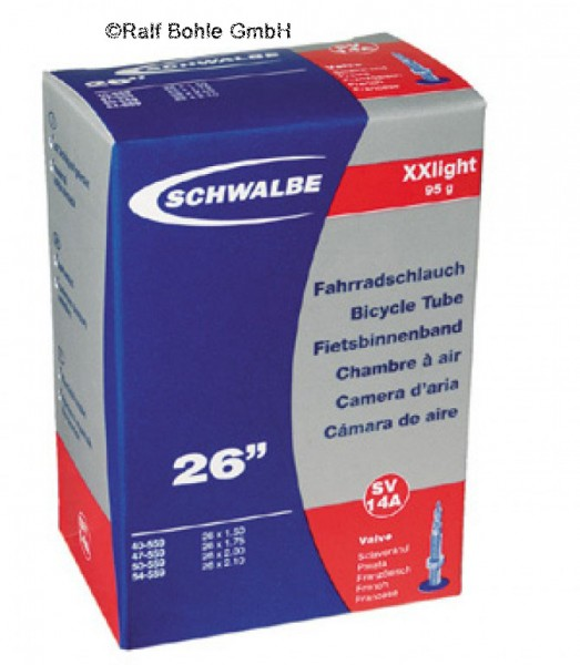 26 Zoll Fahrradschlauch Schwalbe XX light